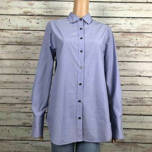 J. Crew Blue Sequin Striped Side Button Up Shirt